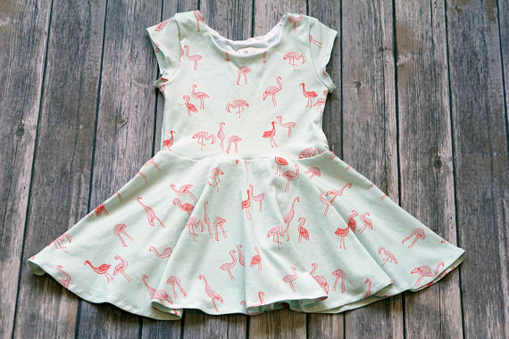 Kids-Baby Flamingo Twirl-Swing Dress