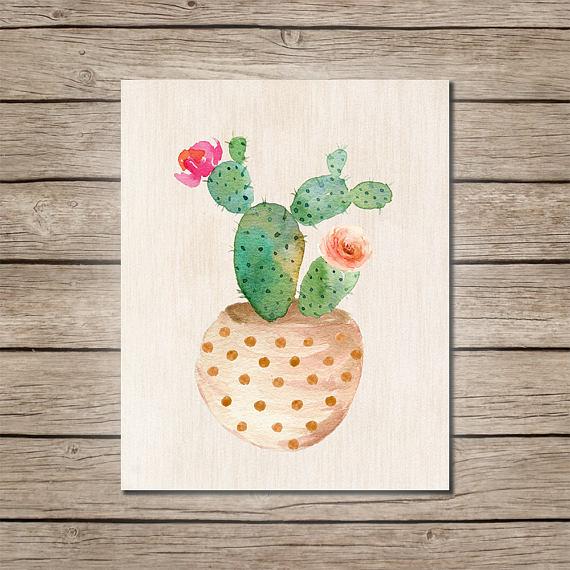 Watercolor Cactus Wall Art