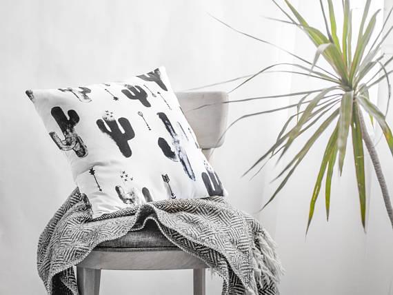 Monochrome Cactus Pillow