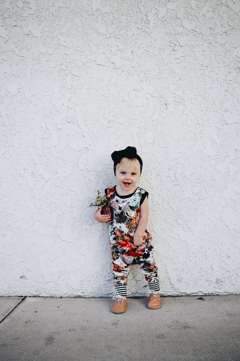 Cutest Fall Floral Kids Romper - Brooklynn & Grey