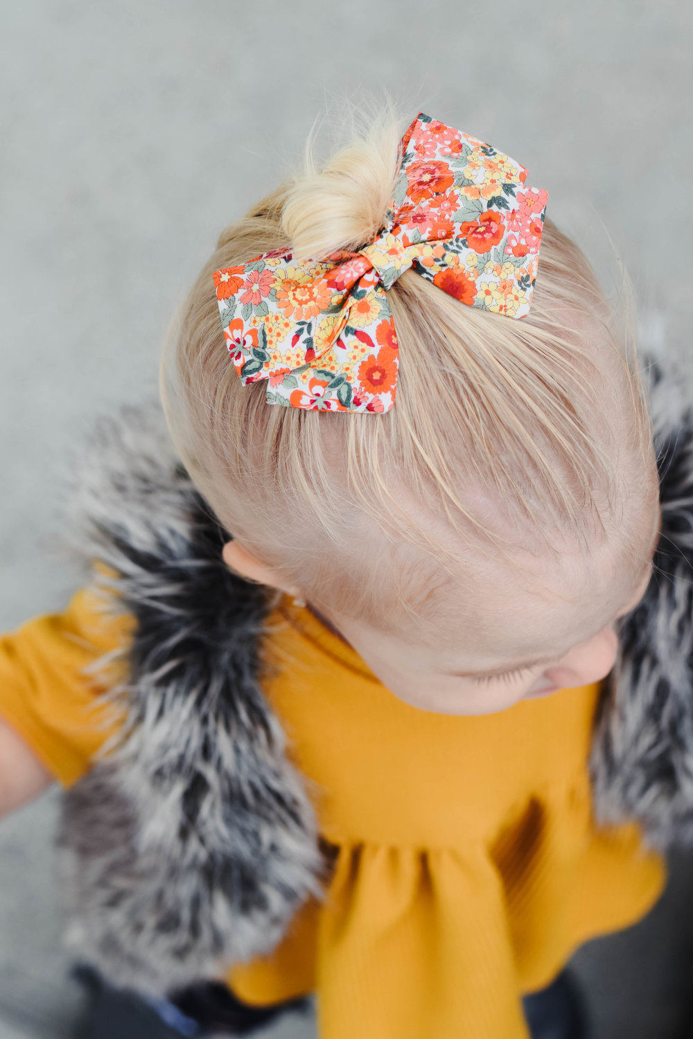 Kids Floral Bow - Cute Fall Kids-Baby Clothes - Kids Fur Vest - Kids Mustard Peplum Shirt - Kids Ripped Jeans
