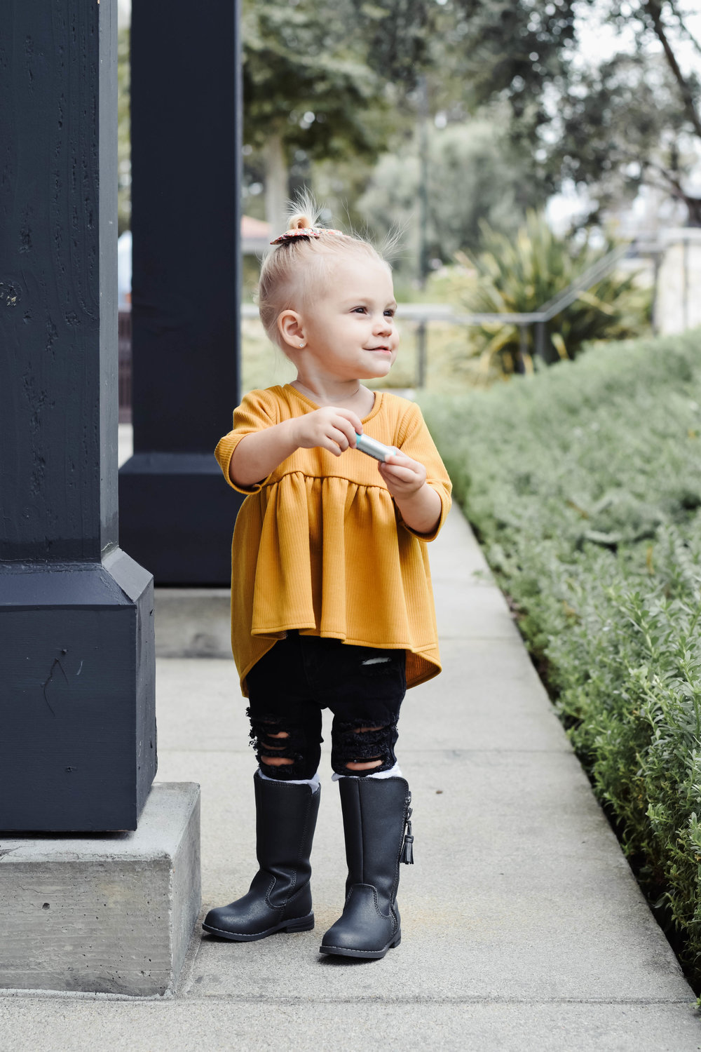 Cute Fall Kids-Baby Clothes - Kids Fur Vest - Kids Mustard Peplum Shirt - Kids Ripped Jeans