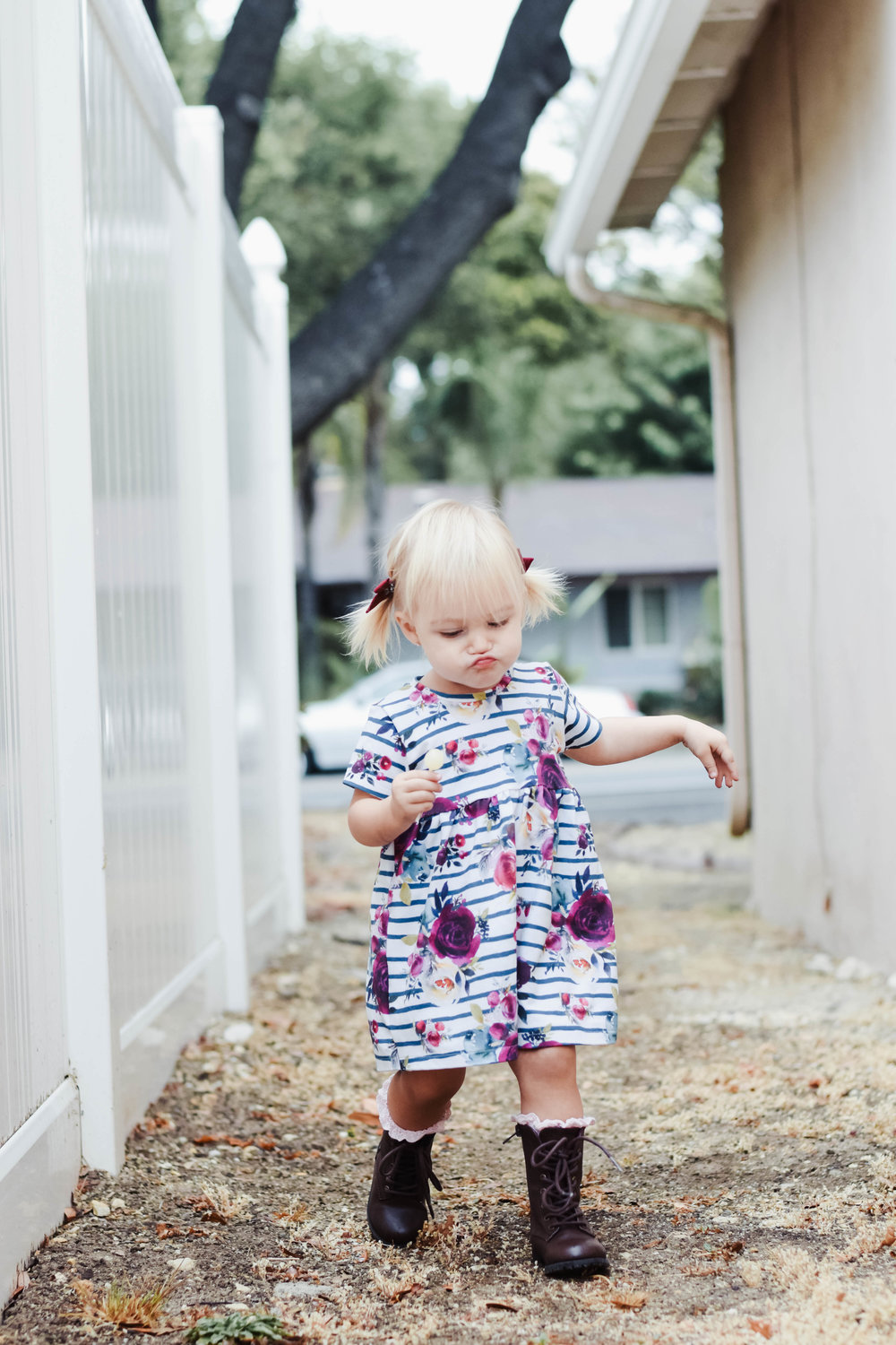 Cute Fall Kids Clothes - Floral Baby Dress - Baby Combat Boots -- Mommy Blogger-The Overwhelmed Mommy