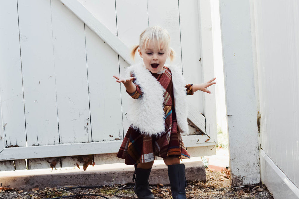 Red Plaid Baby-Kids Thanksgiving Dress -- Cute Fall Kids Clothes - Brooklynn & Grey - Mommy Blogger-Vlogger -- The Overwhelmed Mommy