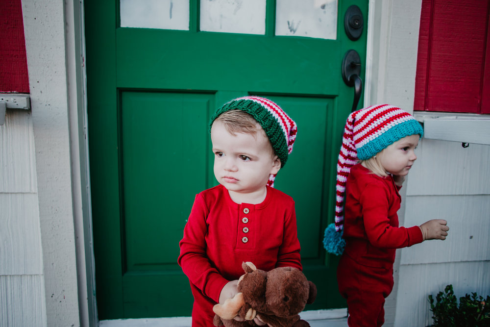 Kids Long Knit Elf Santa Hat -- CUte Red Holiday Kids Pajamas -- Mommy Blogger - The Overwhelmed Mommy
