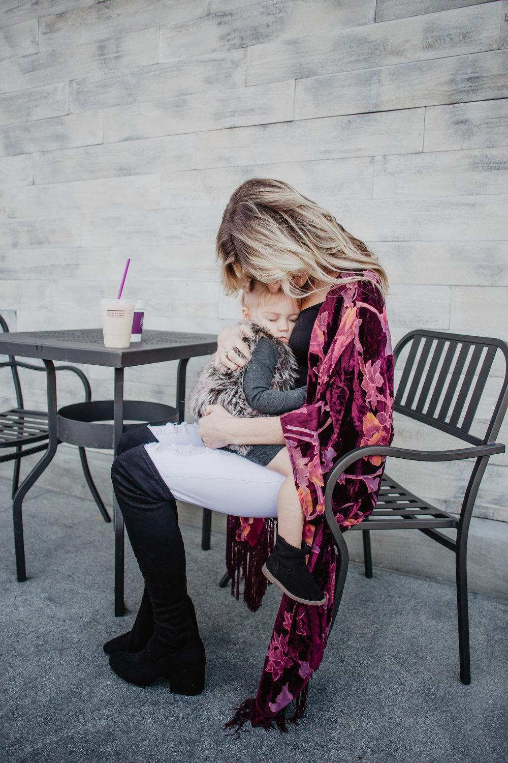 Maroon Velvet Kimono - My 5 Favorite Mama Fashion Trends -- Mommy Fashion Blogger-Vlogger -- The Overwhelmed Mommy