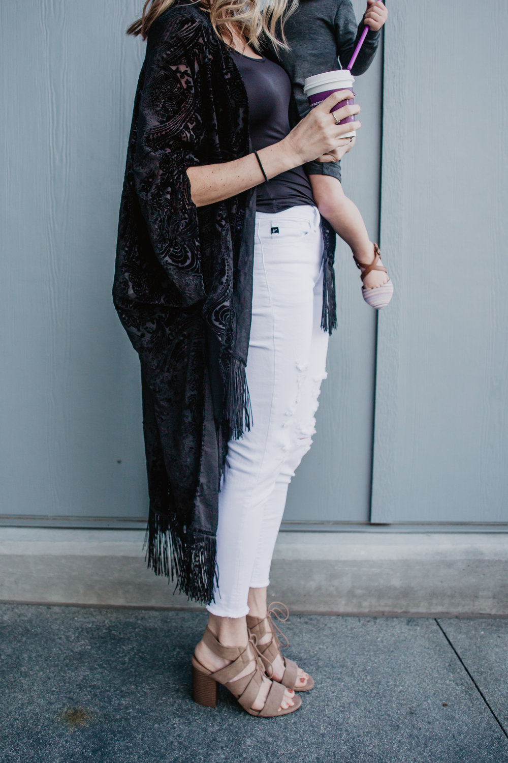 Black Velvet Kimono - My 5 Favorite Mama Fashion Trends -- Mommy Fashion Blogger-Vlogger -- The Overwhelmed Mommy