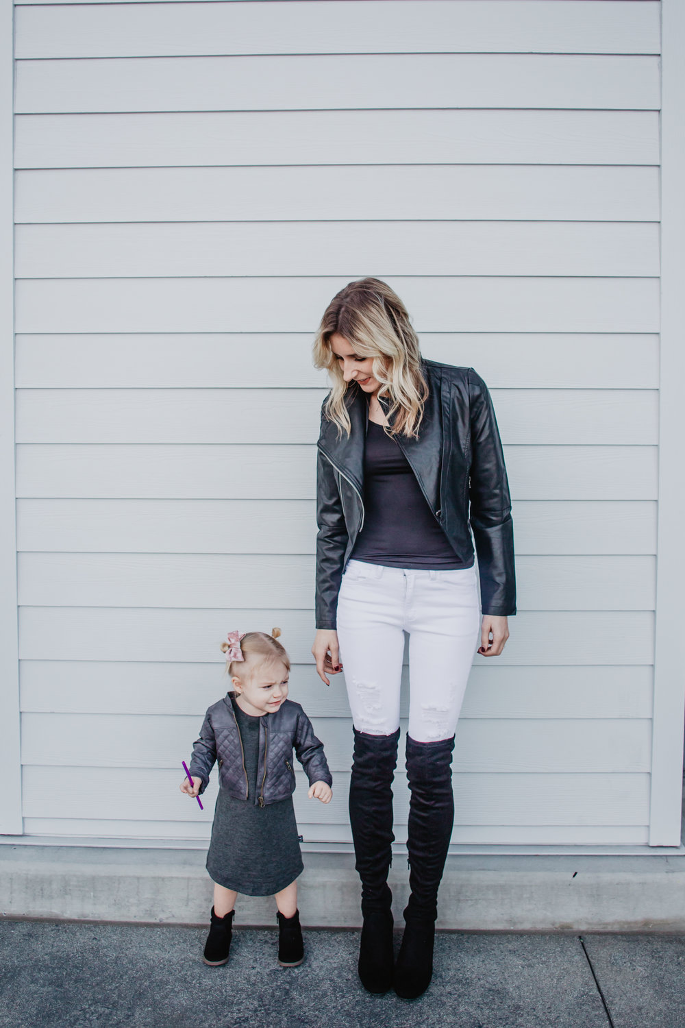 Baby-Kids Leather Jacket - Women's Black Leather Jacket - My 5 Favorite Mama Fashion Trends -- Mommy Fashion Blogger-Vlogger -- The Overwhelmed Mommy