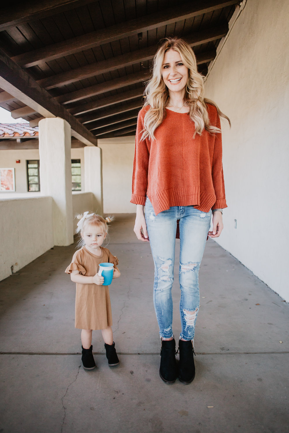 Cute Kids Clothes - Kids T-Shirt Dress - Burnt Orange Knit Sweater Womens -- Mommy Blog - The Overwhelmed Mommy