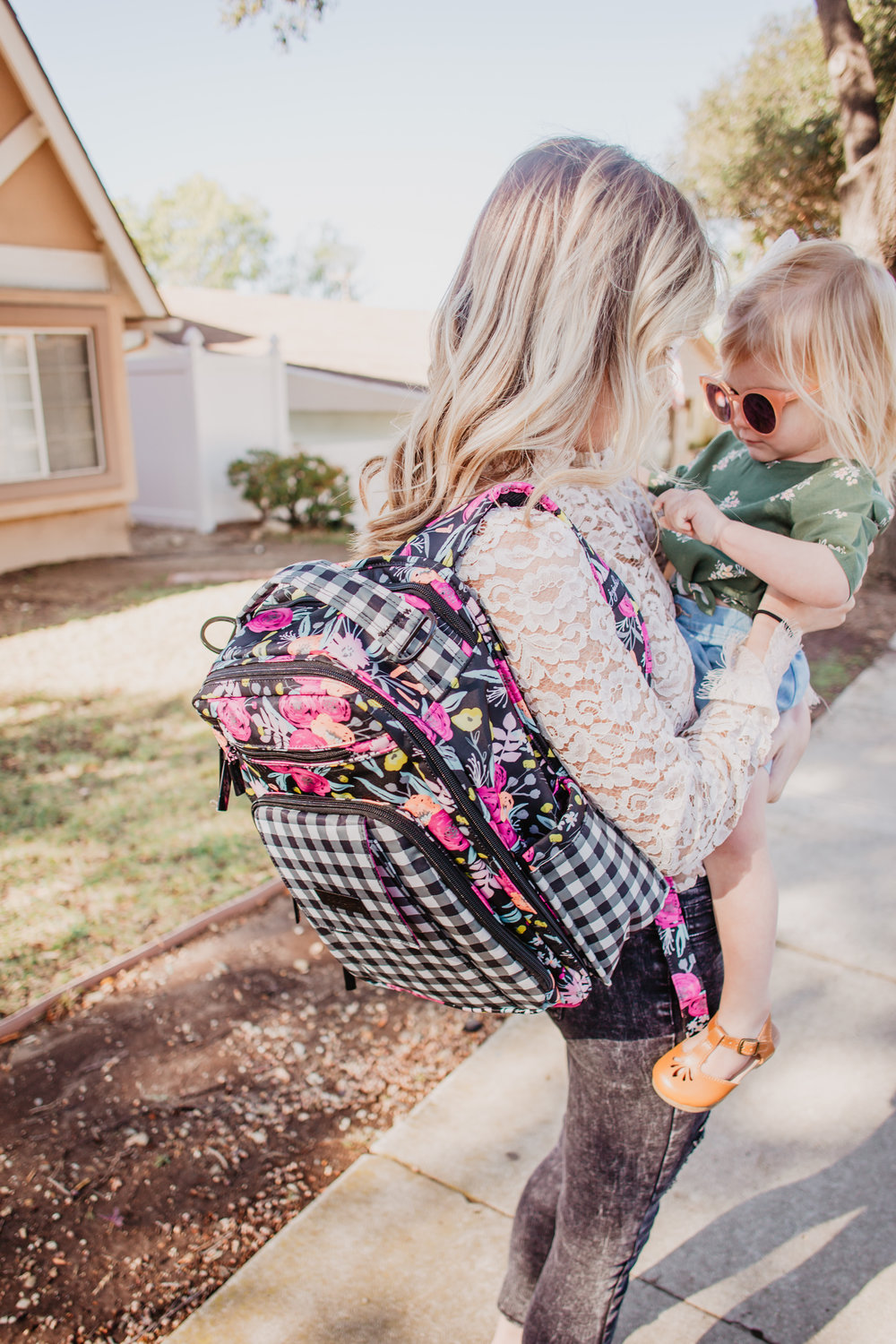 Trendy Diaper Bag Backpacks - Ju-Ju-Be Gingham Bloom Be Right Back -- Mommy Blog - The Overwhelmed Mommy