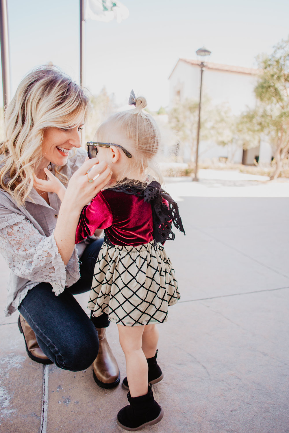 Cute Kids Clothes - Kids Suspender Skirt - Kids Bell Sleeve Velvet Shirt -- Mom Fashion Blogger - The Overwhelmed Mommy