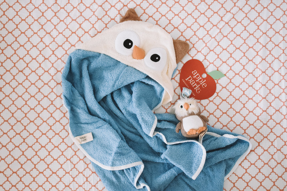 Organic Hooded Baby Owl Towel -- Soft Baby Rattle -- The Overwhelmed Mommy Blogger