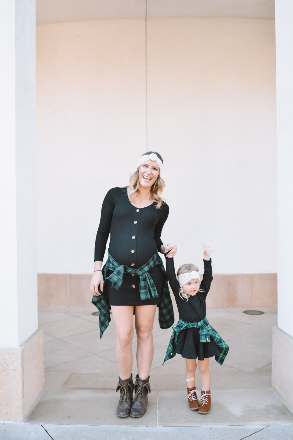 Mommy and Me Clothes Fashion - Green Baby Kids Flannel - The Overwhelmed Mommy Blogger