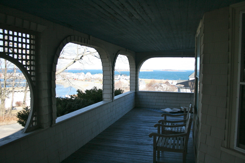 Covered porch with view to Boston harbor