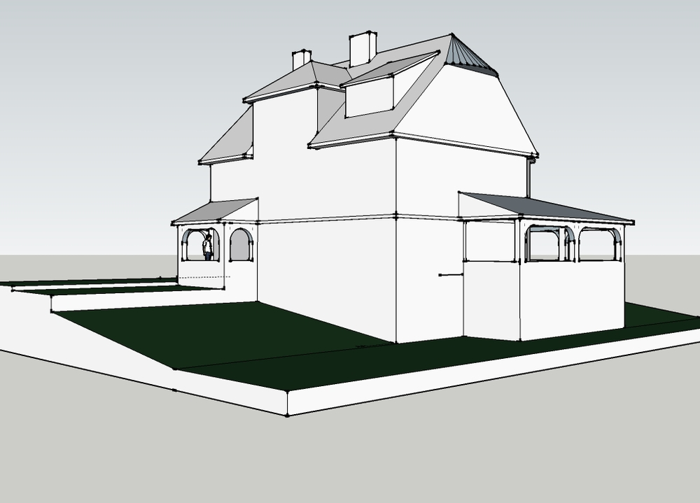 Model image - existing east elevation