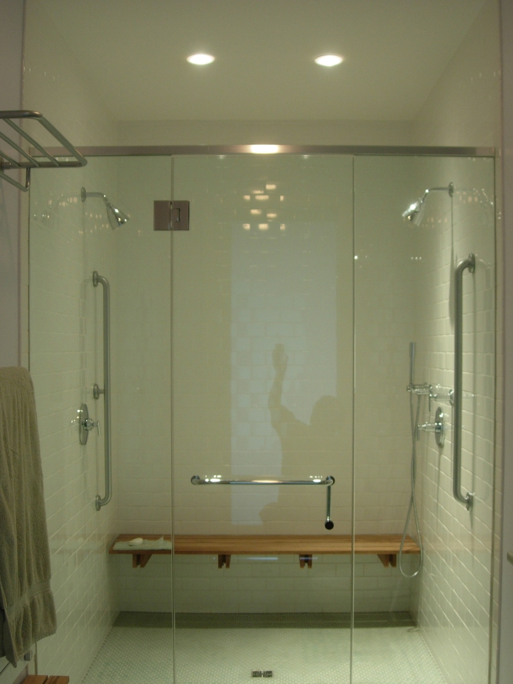 glass roll-in shower