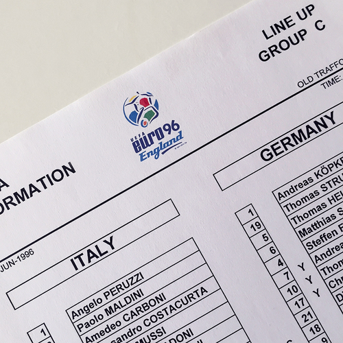 Italy v Germany Official Euro 96 Team Sheet