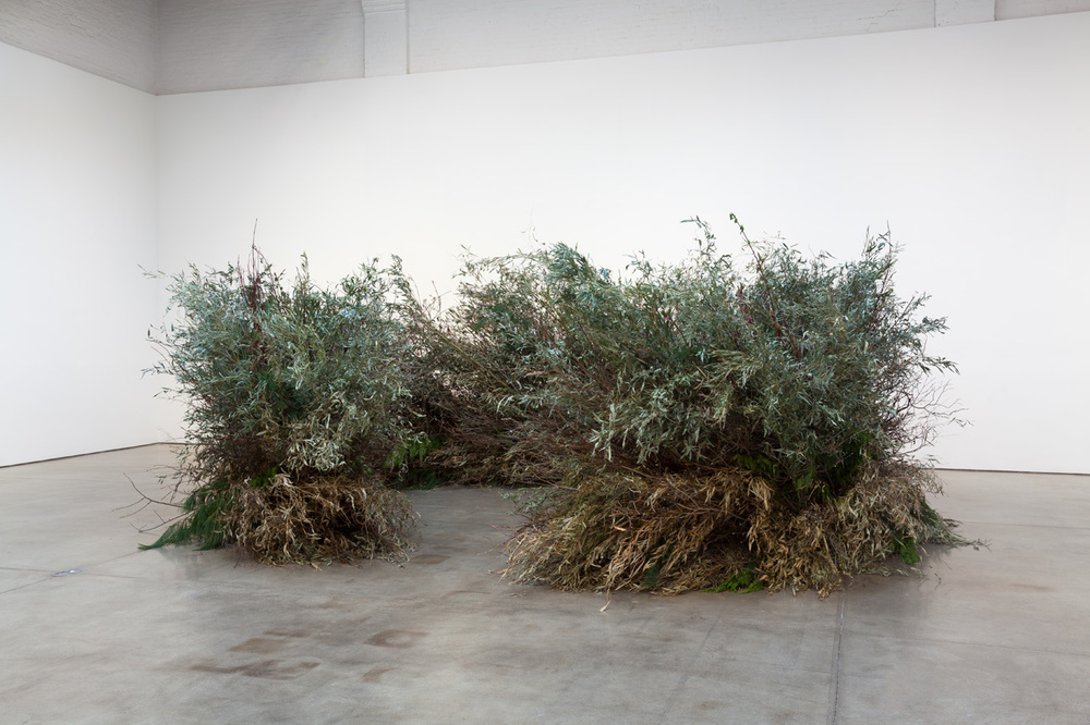 Meg Webster, Stick Structure, 2016, various branches, twigs, and flowering plants, approximately 72 x 192 inches in diameter (182.8 x 487.6 centimeters)