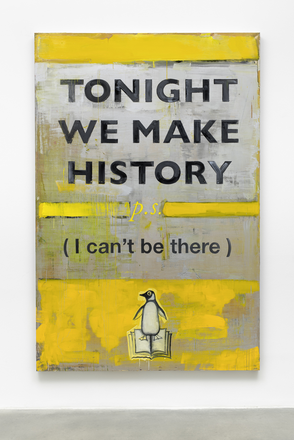 Harland Miller, Tonight We Make History (P.S. I Can't Be There), 2016, image courtesy the artist and BlainSouthern