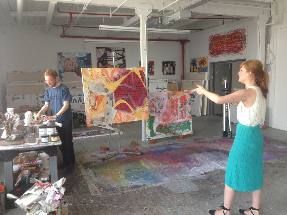 Zach Keeting in his studio with  Ellen Siebers