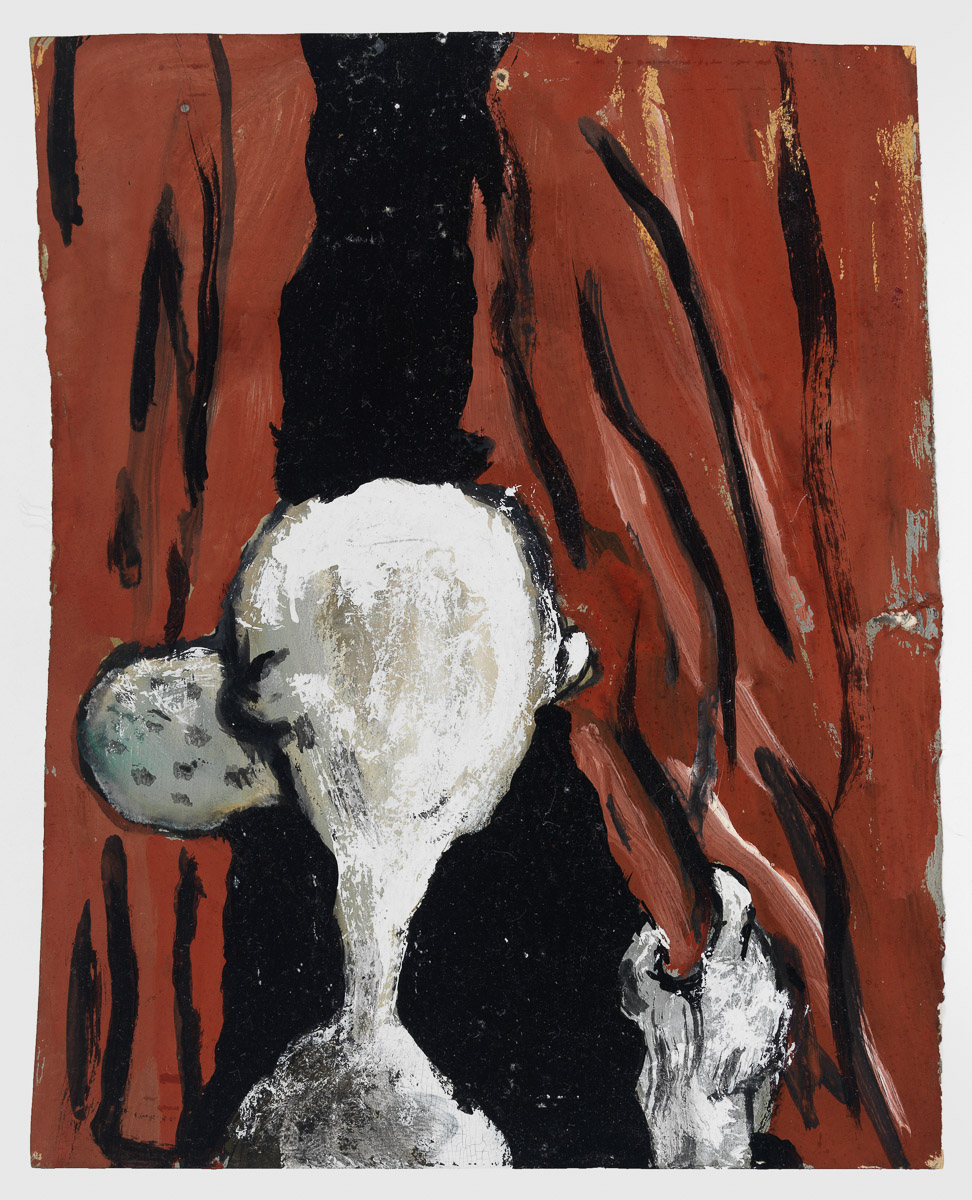 Untitled, 1992 Gouache on paper 5 3/4 x 4 1/2 in (14.6 x 11.43 cm) (paper); 7 1/2 x 6 1/2 in (19 x 16.51 cm) (framed) signed and dated on reverse (ak#12571) courtesy Anton Kern Gallery, New York, and Corbett vs. Dempsey, Chicago. ©Brian Calvin