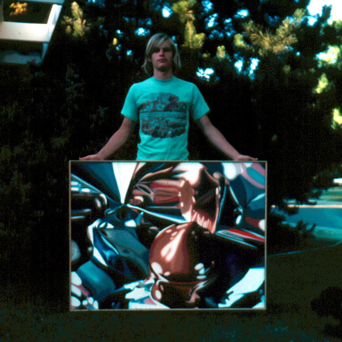 "Dan Miller in front yard of family home in Sacramento California with ""Chocolate Kiss"", 1974"