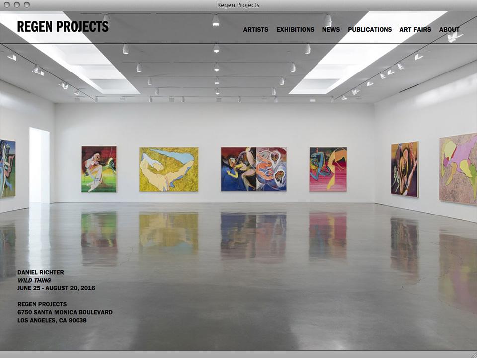 Regen Projects website designed by exhibit-E