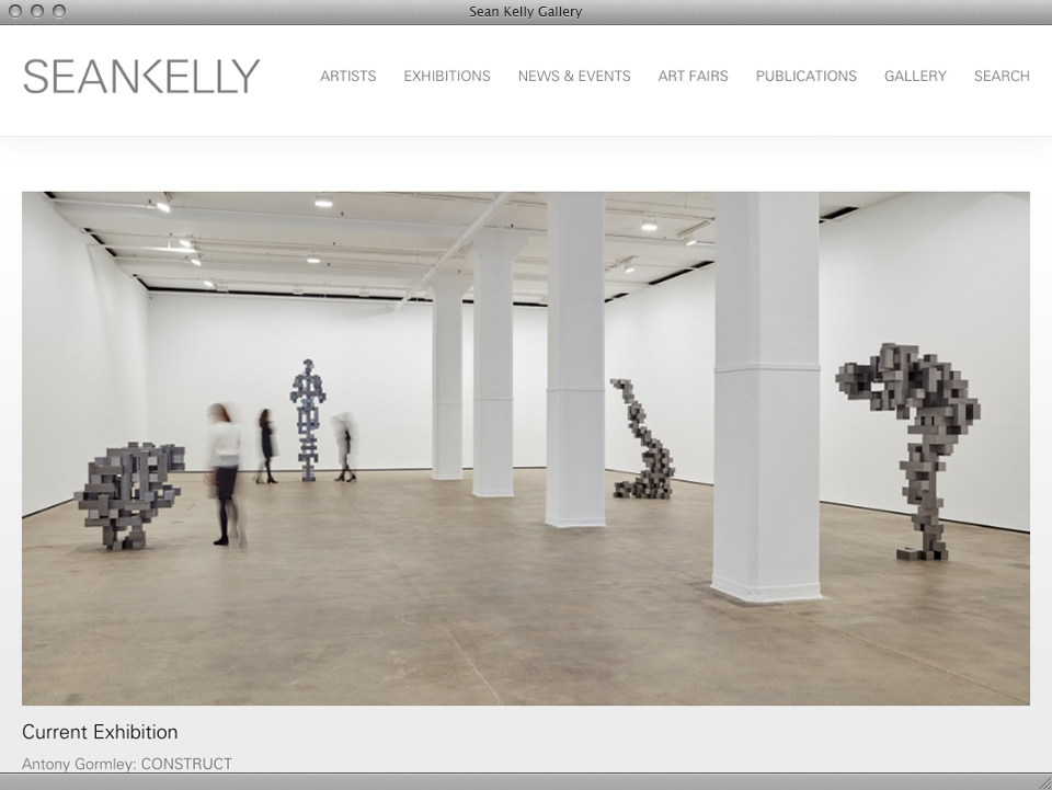 Sean Kelly Gallery website designed by exhibit-E