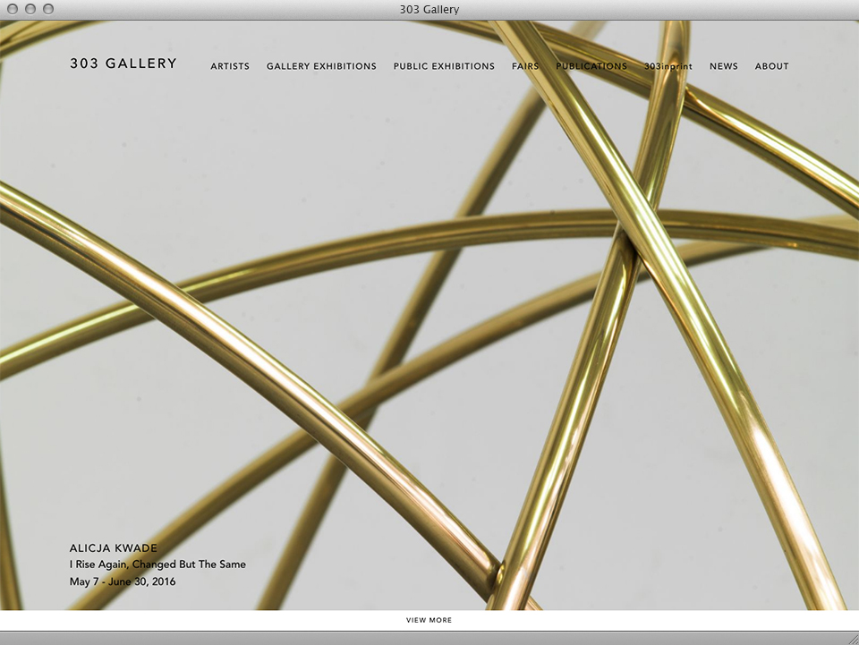 303 Gallery website designed by exhibit-E