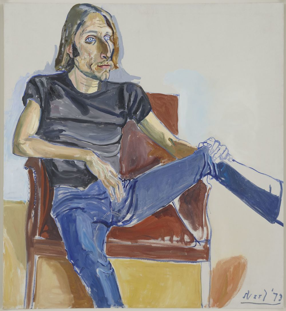 Alice Neel (1900 - 1984) DAVID SOKOLA  1973 Oil on canvas  48 x 44 x 3/4 inches 121.9 x 111.8 x 1.9 centimeters © The Estate of Alice Neel Courtesy David Zwirner, New York/London CR# NE.36332