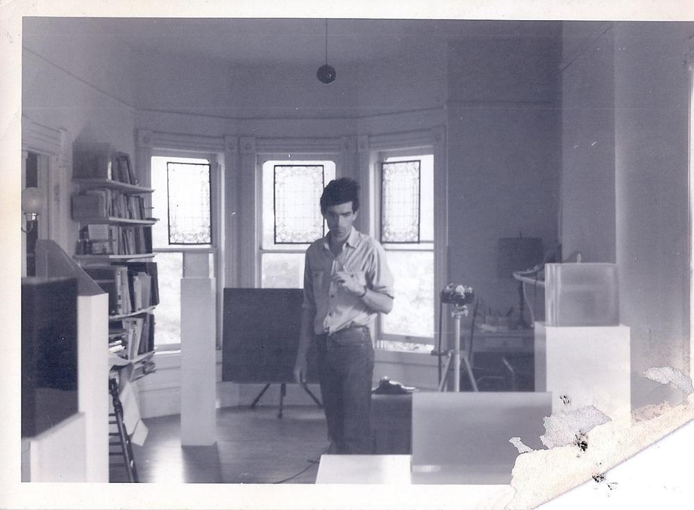 Peter Alexander circa 1968-9 in his studio on Estrella Avenue. Image courtesy of the Artist