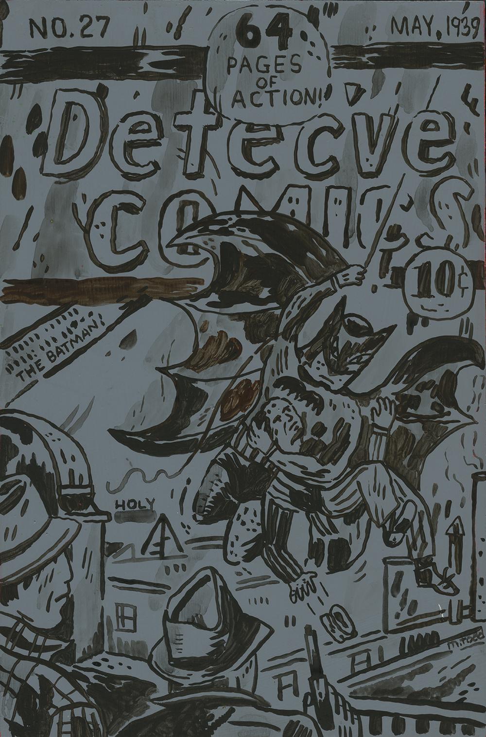 DETEC'VE COMICS acrylic and cel vinyl on panel, 6.75x10.25 in.