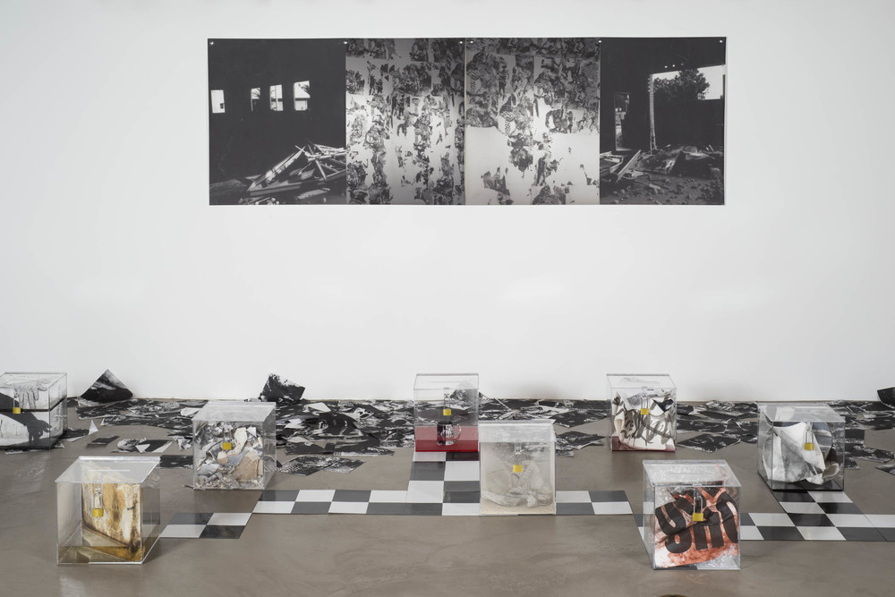 Installation View of Sam Vernon's  Self Portrait with Twelve Boxes