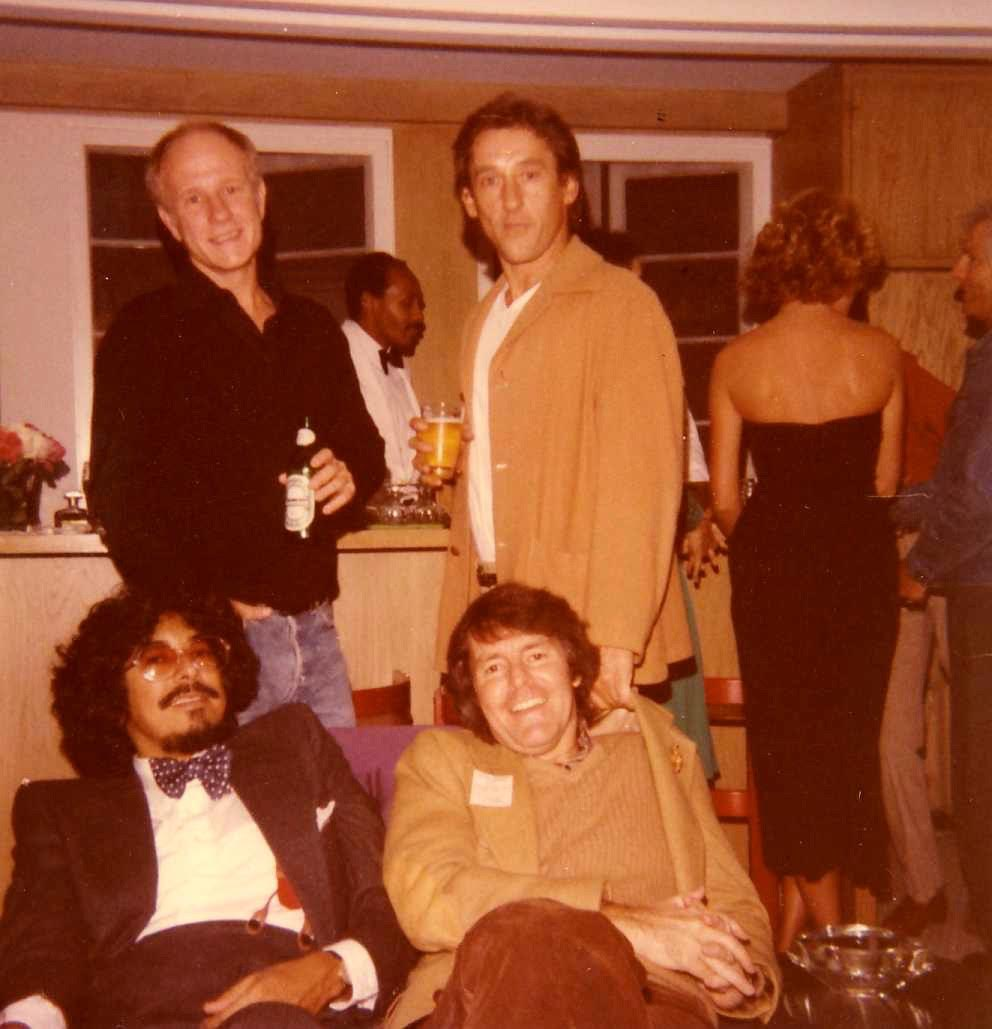 Norman Lear's party, circa late 1970s. Clockwise from top left: Joe Goode, Ed Ruscha, Robert Graham, Jack Quinn. Courtesy of Joan Agajanian Quinn Archives.