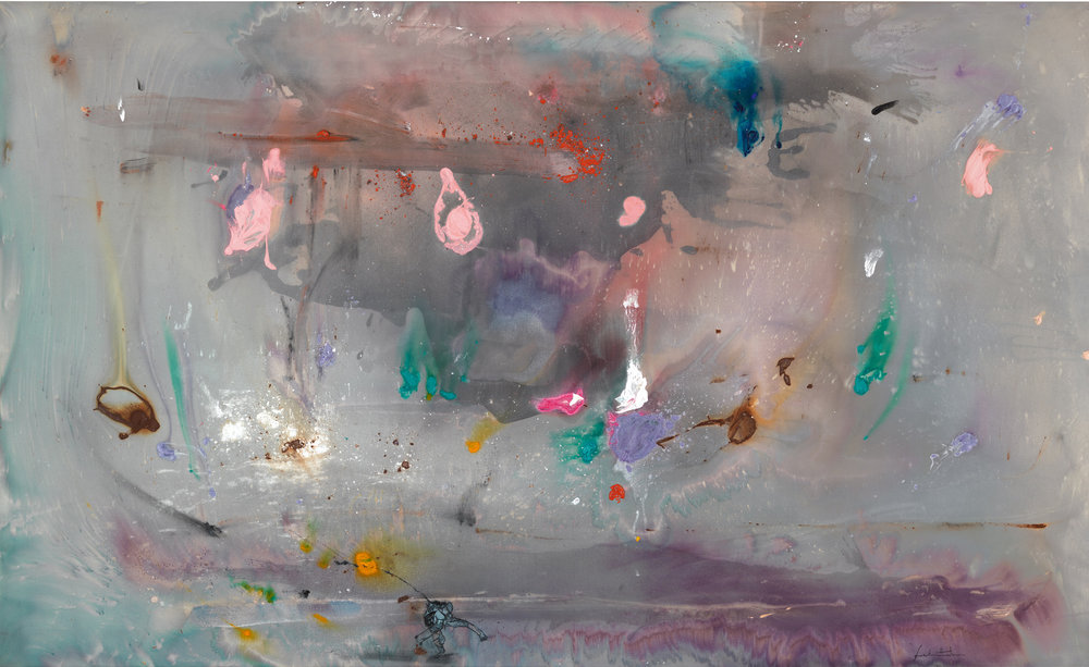 Helen Frankenthaler,  Grey Fireworks , 1982, acrylic on canvas, 72 × 118 1/2 inches (182.9 × 301 cm) © 2016 Helen Frankenthaler Foundation, Inc./Artists Rights Society (ARS), New York. Photo by Rob McKeever