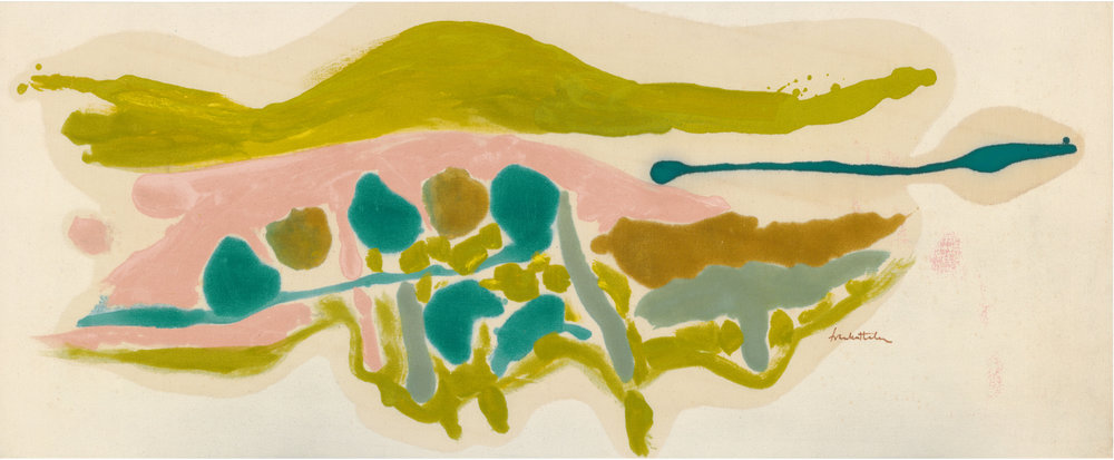 Helen Frankenthaler, Pink Field, 1962, acrylic on canvas, 23 3/4 × 58 inches (60.3 × 147.3 cm) © 2016 Helen Frankenthaler Foundation, Inc./Artists Rights Society (ARS), New York. Photo by Rob McKeever