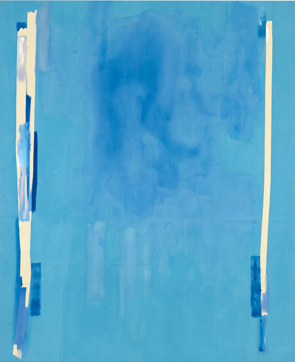 Helen Frankenthaler,  Blue Bellows , 1976, Acrylic on canvas, 115 1/4 × 94 inches (292.7 × 238.8 cm), © 2016 Helen Frankenthaler Foundation, Inc./Artists Rights Society (ARS), New York.. Photo by Rob McKeever