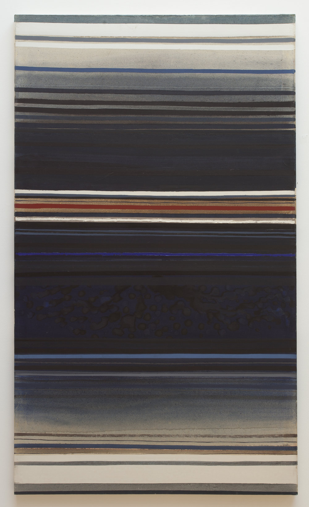 Red Stripe with Blue  (1961), oil on canvas, 84.5 x 50""