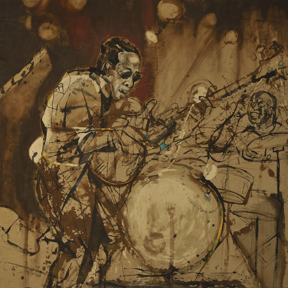 Stanley Clark live in Sénégal  (2012), ink and oil on linen, 72 x 72""