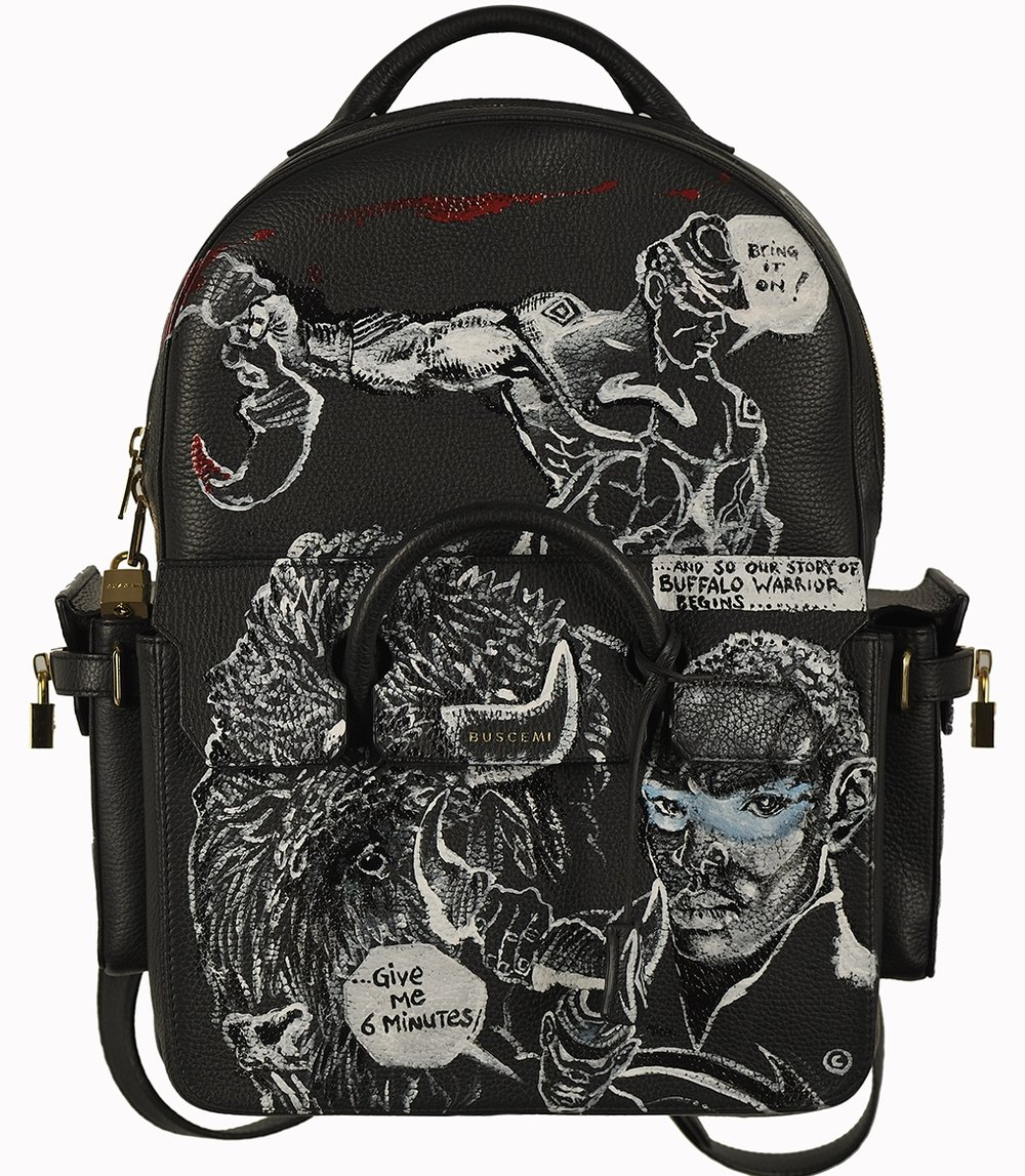 Chaz Guest & Jon Buscemi collaboration,  Buffalo Warrior  leather backpack