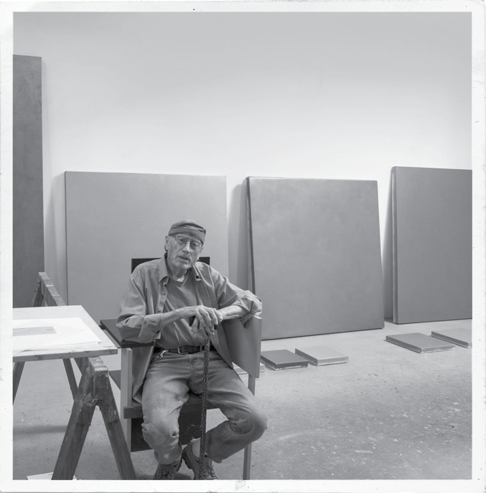 David Simpson in his studio, Berkeley, California, 2015.  From David Simpson: Works (1965- 2015)  Photograph © 2015 Jo Whaley www.radiusbooks.org