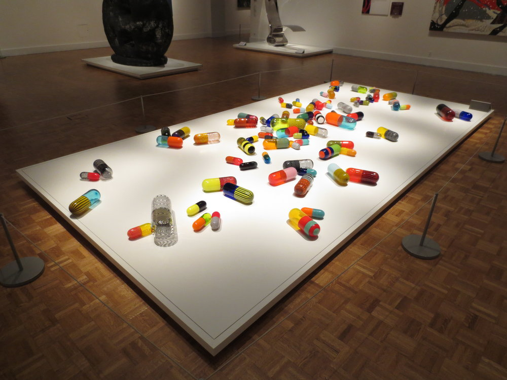 Pill Spill , 2011, blown glass, more than 90 elements, each installation varies. Photo: Shell Hensleigh