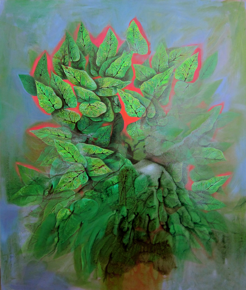 Jennifer Coates, Large Houseplant, 2017, acrylic on canvas, 72x60 in. Courtesy of the artist and Freight and Volume Gallery