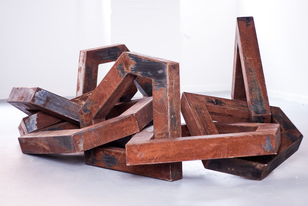 "Tiff Massey,  Facet , 18.5' x 4.5' x 5"" (variable), steel, 2010.  Image Courtesy of the artist."