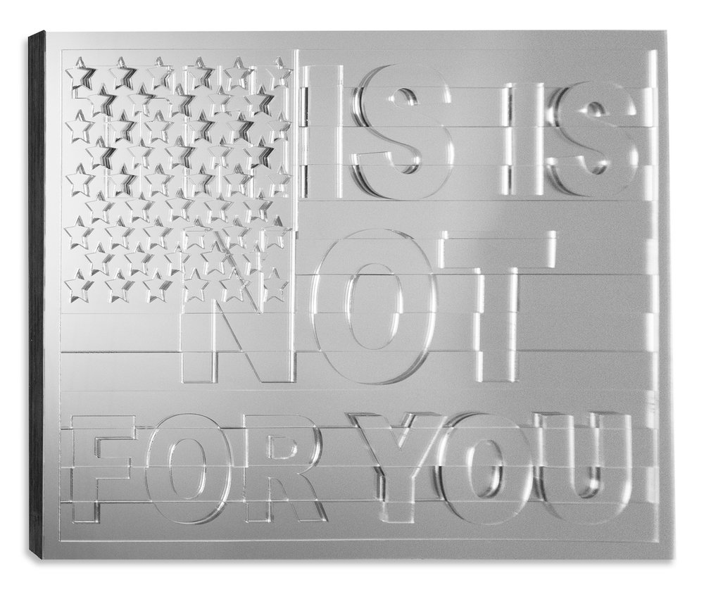 Tiff Massey,  Ain't No Future in Your Front , 26″ x 38″ x 1.25″, wood and mirrored acrylic, 2017. Image courtesy of the artist.