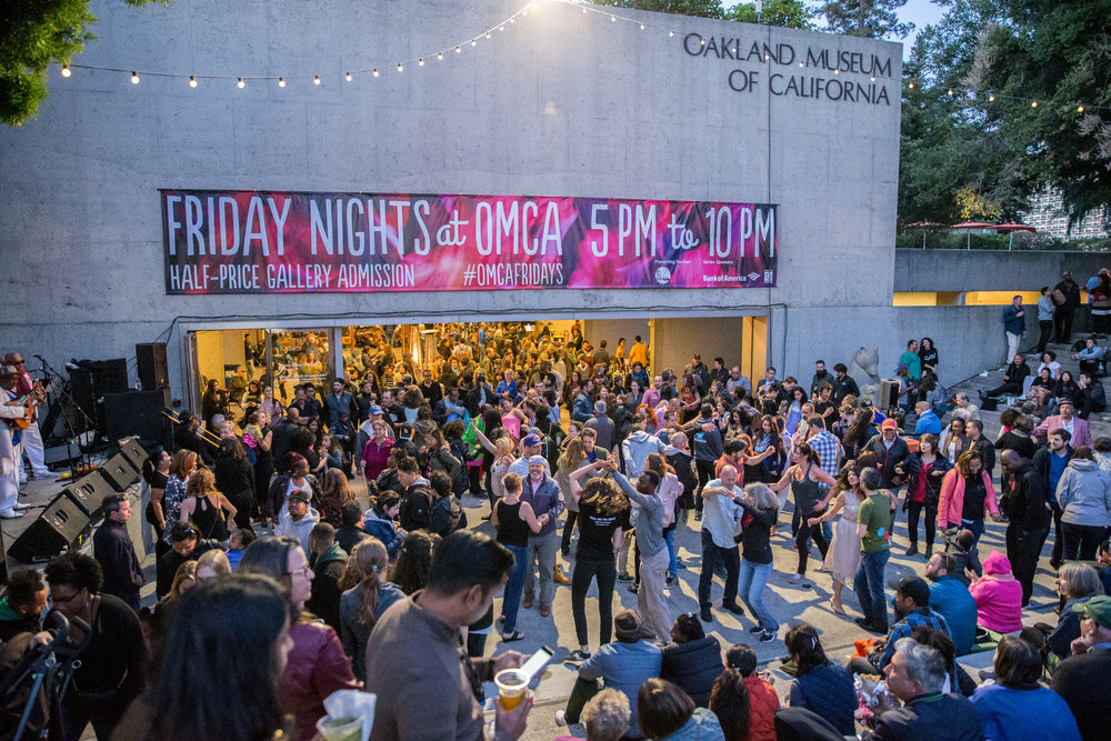 Every week,  Friday Nights @ OMCA  is a popular late-night event where Oakland comes together to enjoy music, dance, food trucks, and half-price admission to the Museum's galleries and exhibitions. Photo:  Odell Hussey Photography .  Courtesy of Oakland Museum of California.
