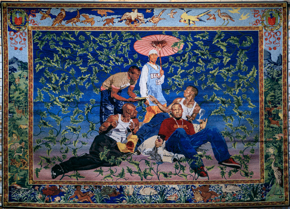 Kehinde Wiley ,  Gypsy Fortune Teller,  2007. Jacquard tapestry in Italian cotton and Italian viscose, 76 x 102 in. Image provided courtesy of Suzy Gorman. From upcoming exhibition   RESPECT: Hip-Hop Style & Wisdom .
