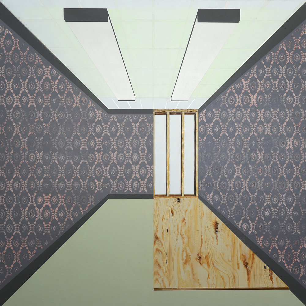 """The Room No. 1 , 2014. Acrylic on canvas over panel, 48""""x 48""""."""