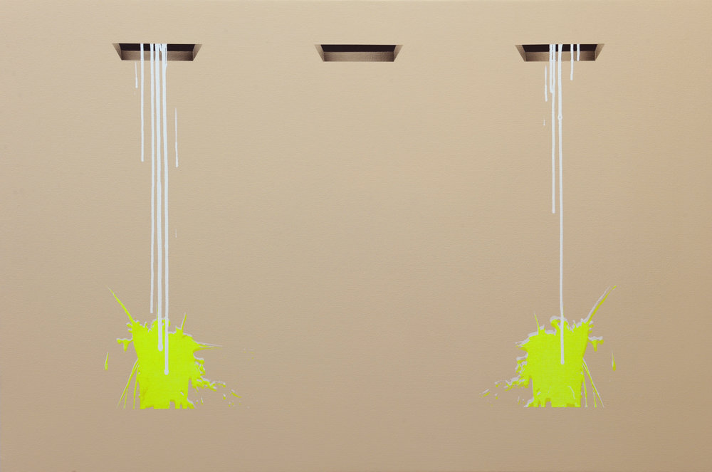 """2 Drips, 3 Holes , 2015. Acrylic on canvas over panel, 32"""" x 48""""."""