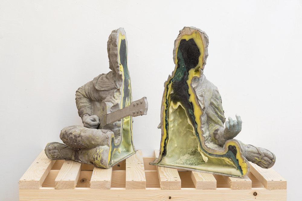Geode (Roky Erickson) , 2016, gypsum, resin, metal powder, pigment, 29 x 21 x 24 inches.